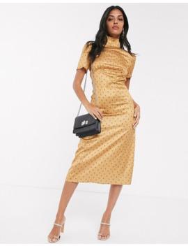 Fashion Union – Hochgeschlossenes Satin Freizeitkleid In Gelb Mit Blumenmuster Und Ballonärmeln by Asos