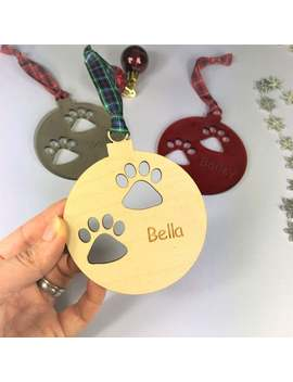 Personalised Pet Christmas Tree Decoration.  Custom Made Quality Paw/Pet/Dog/Cat Print Bauble by Etsy