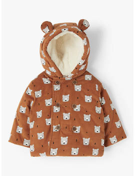 John Lewis & Partners Baby Cord Bear Coat, Brown by John Lewis & Partners