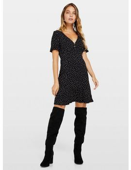 Petite Black Jersey Printed Tea Dress by Miss Selfridge