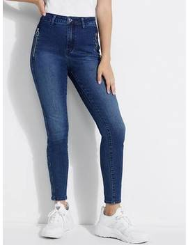 Super High Rise Moto Skinny Jeans by Guess
