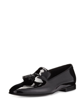Tom Ford Chesterfield Patent Leather Tassel Front Loafer, Black by Tom Ford