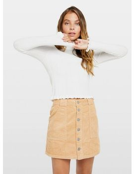 Petite Ivory Frill Hem Roll Neck Top by Miss Selfridge