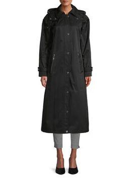 Button Front Cotton Blend Coat by Calvin Klein