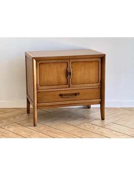 Mid Century Modern Nightstand   Drexel Walnut Cabinet + Drawer Mcm Side Table   Modern Wood Bedside Table + Cabinet   Single Nightstand by Etsy