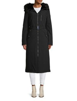 Removable Faux Fur Trim Hooded Coat by Calvin Klein