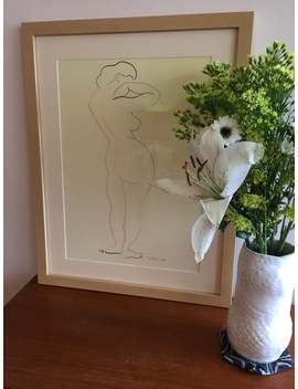 Vintage Framed Nude Female Figure Drawing   Mid Century   Signed & Dated 1957 by Etsy