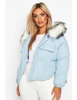 Plus Faux Fur Hooded Pocket Parka Jacket by Boohoo