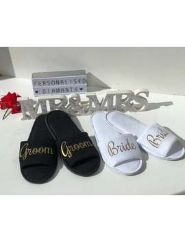 Bride And Groom Matching Slippers Set, Bride And Groom Gift Set by Etsy