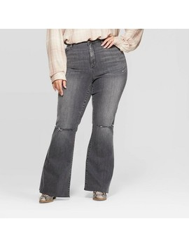 Women's Plus Size High Rise Distressed Flared Jeans   Universal Thread™ Gray Wash by Universal Thread