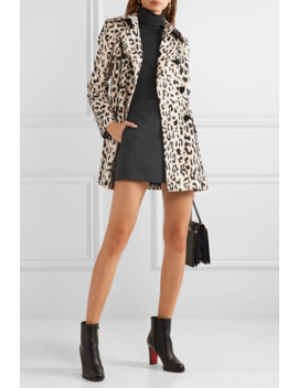 Double Breasted Leopard Print Faux Fur Coat by Dolce & Gabbana