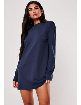 Navy Basic Long Sleeve T Shirt Dress by Missguided