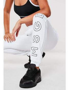Active White Msgd Joggers by Missguided