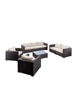Santa Rosa Multi Brown 8 Piece W Icker Patio Conversation Set With Beige Cushions by Noble House