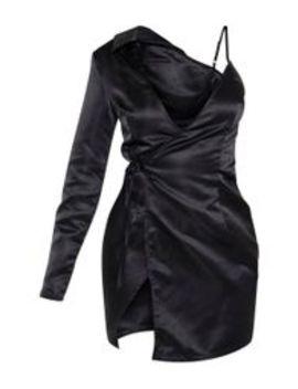 Robe Blazer Satinée Noire à Manche Unique Et Lien by Prettylittlething