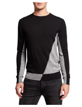 Karl Lagerfeld Paris Mens Asymmetrical Colorblock Cashmere Blend Sweater by Karl Lagerfeld Paris