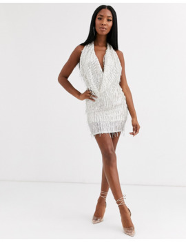 Goddiva Embellished Deep Cowl Neck Mini Dress In Cream by Goddiva