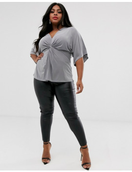 Outrageous Fortune Plus Knot Front Jersey Top In Gray by Outrageous Fortune's