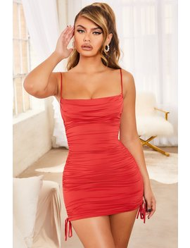 All Yours Ruched Bodycon Mini Dress In Red by Oh Polly
