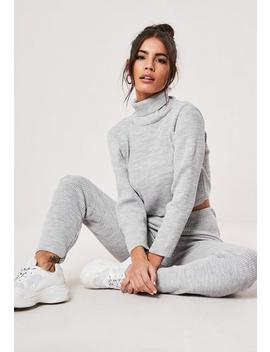 Grey Ribbed Roll Neck Legging Co Ord Set by Missguided