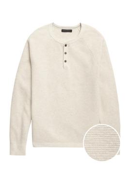 Organic Cotton Henley Sweater by Banana Repbulic
