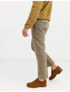 Asos Design Slim Crop Smart Trousers In 100% Wool Harris Tweed In Brown Twill Check by Asos Design