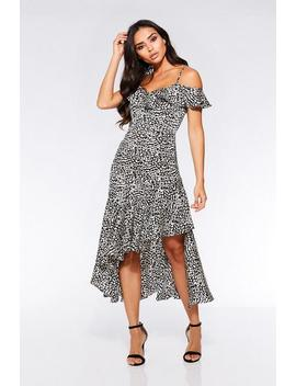 Black And White Leopard Cold Shoulder Frill Dress by Quiz