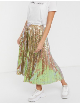 Asos Design Sequin Pleated Midi Skirt by Asos Design