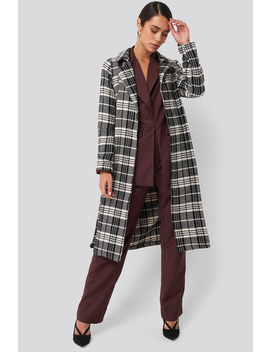 Black Check Coat Sort by Trendyol
