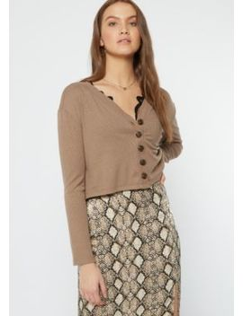 Taupe Ribbed Knit Cropped Cardigan by Rue21