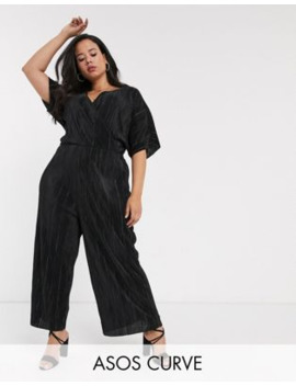 Asos Design Curve Plisse Wrap Tie Jumpsuit by Asos Design