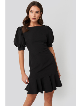 Puff Sleeve Mini Dress Czarny by Trendyol