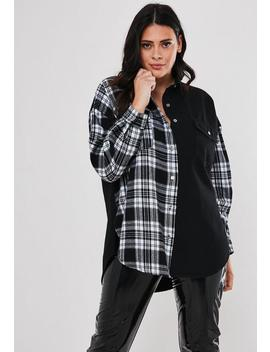 Plus Size Black Oversized Check Spliced Denim Shirt by Missguided