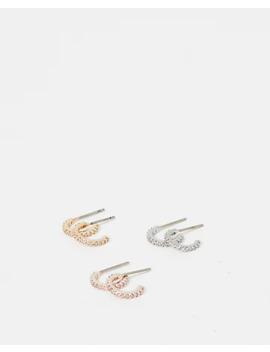 Set Of Three Cubic Zirconia Post Back Hoop Earrings by Express