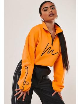 Orange Slogan Sleeve Cropped Sweatshirt by Missguided