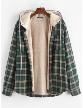 Popular Plaid Chest Pocket Fleece Drawstring Hooded Jacket   Medium Sea Green S by Zaful