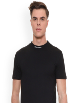 Men Black Solid High Neck T Shirt by People