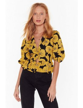 Large Floral Volume Sleeve Blouse by Nasty Gal