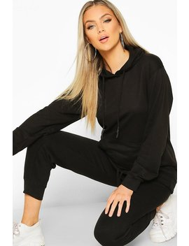 Oversized Pocket Rubberized Toggle Hoodie by Boohoo