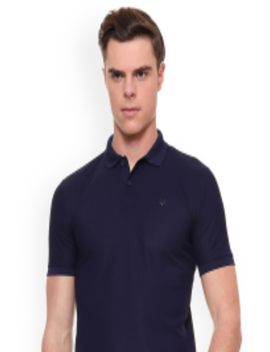 Men Navy Blue Solid Polo Collar T Shirt by Allen Solly Sport