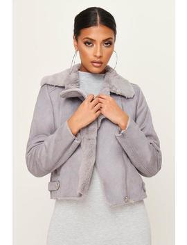 Grey Faux Suede Fur Biker Jacket by I Saw It First