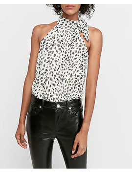 Leopard Halter Neck Thong Bodysuit by Express