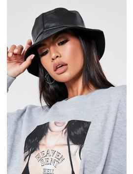 Black Faux Leather Bucket Hat by Missguided