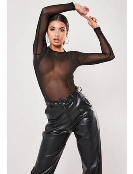 Black Mesh Contrast Stitch Bodysuit by Missguided