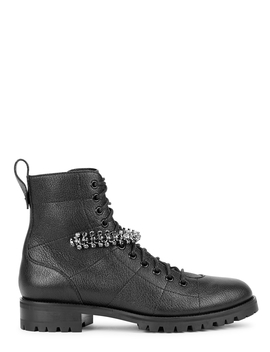 Cruz 40 Black Leather Biker Boots by Jimmy Choo