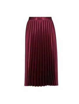**Luxe Oxblood Pleated Skirt by Dorothy Perkins