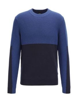 Regular Fit Sweater With Mixed Structure Color Blocking Regular Fit Sweater With Mixed Structure Color Blocking by Boss