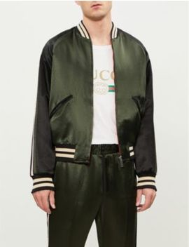 Logo Stripe Satin Bomber Jacket by Gucci