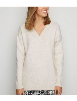 stone-knit-v-neck-longline-jumper by new-look