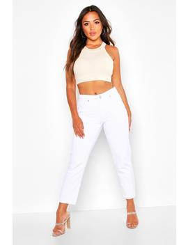 Petite High Rise Straight Jeans by Boohoo